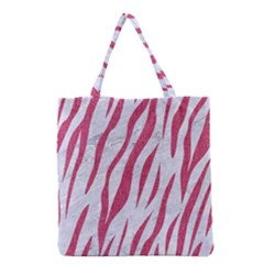 SKIN3 WHITE MARBLE & PINK DENIM (R) Grocery Tote Bag