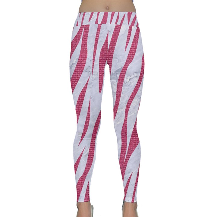 SKIN3 WHITE MARBLE & PINK DENIM (R) Classic Yoga Leggings