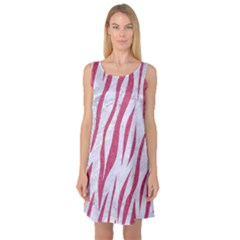 Skin3 White Marble & Pink Denim (r) Sleeveless Satin Nightdress