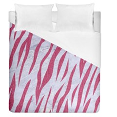 Skin3 White Marble & Pink Denim (r) Duvet Cover (queen Size)