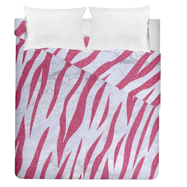 SKIN3 WHITE MARBLE & PINK DENIM (R) Duvet Cover Double Side (Queen Size)
