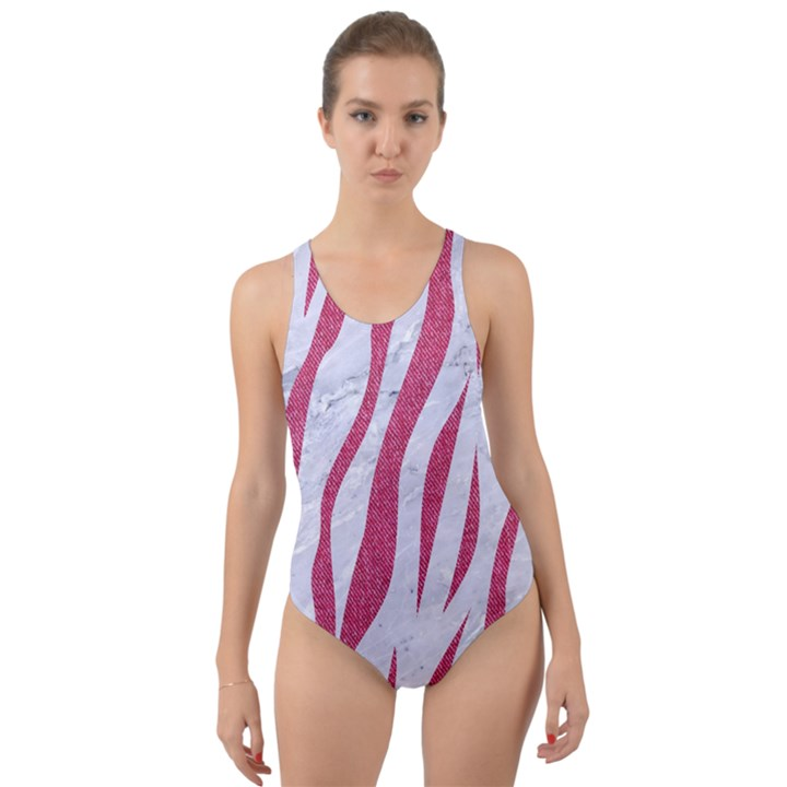 SKIN3 WHITE MARBLE & PINK DENIM (R) Cut-Out Back One Piece Swimsuit
