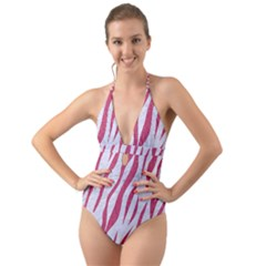 SKIN3 WHITE MARBLE & PINK DENIM (R) Halter Cut-Out One Piece Swimsuit