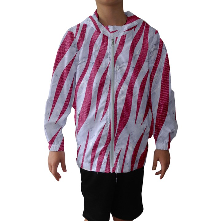 SKIN3 WHITE MARBLE & PINK DENIM (R) Hooded Windbreaker (Kids)