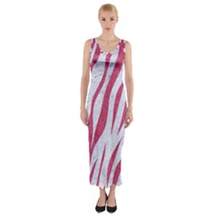 SKIN3 WHITE MARBLE & PINK DENIM (R) Fitted Maxi Dress