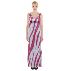 Skin3 White Marble & Pink Denim (r) Maxi Thigh Split Dress