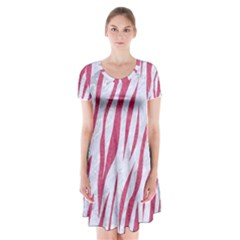 Skin3 White Marble & Pink Denim (r) Short Sleeve V Neck Flare Dress