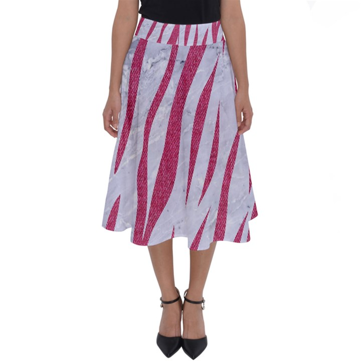 SKIN3 WHITE MARBLE & PINK DENIM (R) Perfect Length Midi Skirt