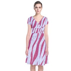 SKIN3 WHITE MARBLE & PINK DENIM (R) Short Sleeve Front Wrap Dress