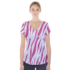 SKIN3 WHITE MARBLE & PINK DENIM (R) Short Sleeve Front Detail Top