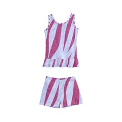 Skin3 White Marble & Pink Denim (r) Kid s Boyleg Swimsuit