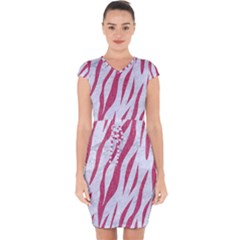 Skin3 White Marble & Pink Denim (r) Capsleeve Drawstring Dress