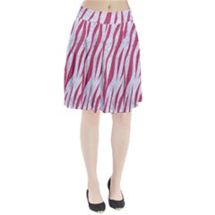 Skin3 White Marble & Pink Denim (r) Pleated Skirt
