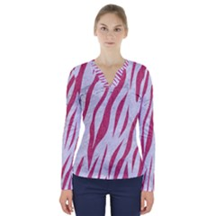 Skin3 White Marble & Pink Denim (r) V Neck Long Sleeve Top