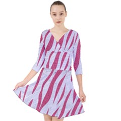 Skin3 White Marble & Pink Denim (r) Quarter Sleeve Front Wrap Dress