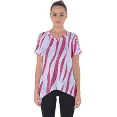 Skin3 White Marble & Pink Denim (r) Cut Out Side Drop Tee