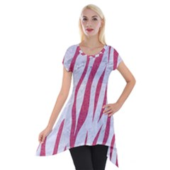 Skin3 White Marble & Pink Denim (r) Short Sleeve Side Drop Tunic