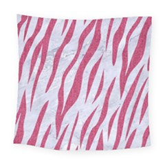 SKIN3 WHITE MARBLE & PINK DENIM (R) Square Tapestry (Large)