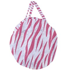SKIN3 WHITE MARBLE & PINK DENIM (R) Giant Round Zipper Tote