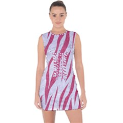 SKIN3 WHITE MARBLE & PINK DENIM (R) Lace Up Front Bodycon Dress