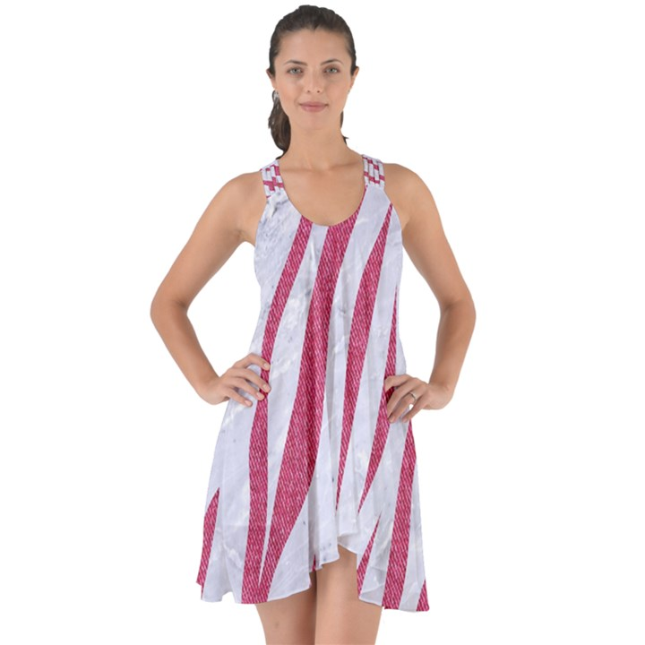 SKIN3 WHITE MARBLE & PINK DENIM (R) Show Some Back Chiffon Dress