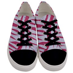 Skin3 White Marble & Pink Denim (r) Men s Low Top Canvas Sneakers