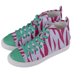 SKIN3 WHITE MARBLE & PINK DENIM (R) Women s Mid-Top Canvas Sneakers