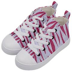 SKIN3 WHITE MARBLE & PINK DENIM (R) Kid s Mid-Top Canvas Sneakers