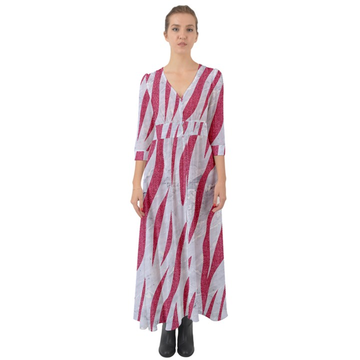 SKIN3 WHITE MARBLE & PINK DENIM (R) Button Up Boho Maxi Dress