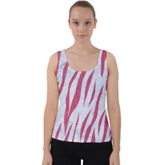 Skin3 White Marble & Pink Denim (r) Velvet Tank Top