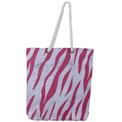 Skin3 White Marble & Pink Denim (r) Full Print Rope Handle Tote (large) by trendistuff