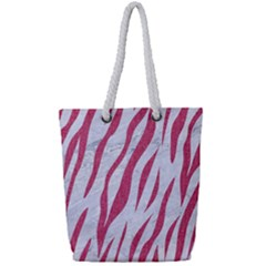 Skin3 White Marble & Pink Denim (r) Full Print Rope Handle Tote (small) by trendistuff