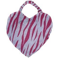 Skin3 White Marble & Pink Denim (r) Giant Heart Shaped Tote by trendistuff