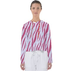 Skin3 White Marble & Pink Denim (r) Women s Slouchy Sweat