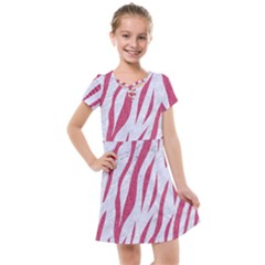 Skin3 White Marble & Pink Denim (r) Kids  Cross Web Dress