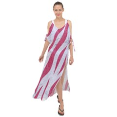 SKIN3 WHITE MARBLE & PINK DENIM (R) Maxi Chiffon Cover Up Dress