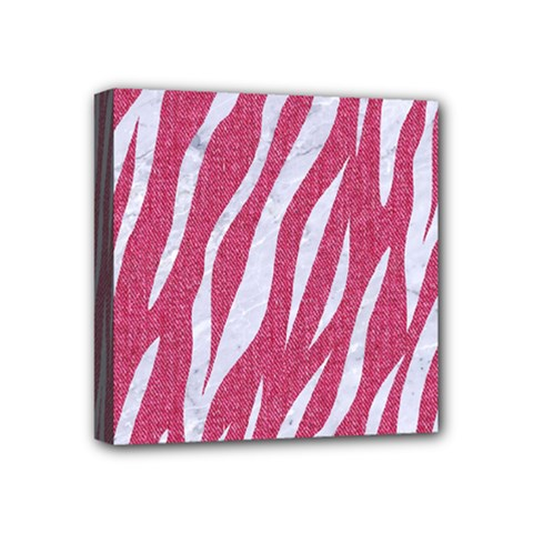 SKIN3 WHITE MARBLE & PINK DENIM Mini Canvas 4  x 4