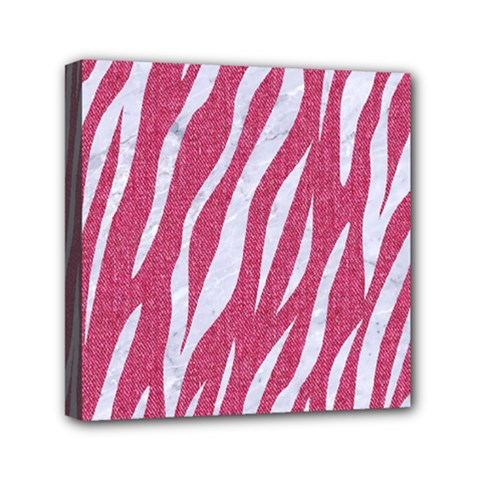 SKIN3 WHITE MARBLE & PINK DENIM Mini Canvas 6  x 6
