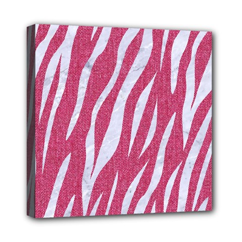 SKIN3 WHITE MARBLE & PINK DENIM Mini Canvas 8  x 8