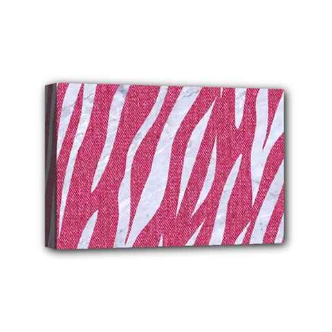 SKIN3 WHITE MARBLE & PINK DENIM Mini Canvas 6  x 4