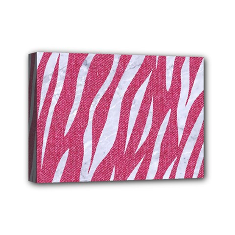 SKIN3 WHITE MARBLE & PINK DENIM Mini Canvas 7  x 5