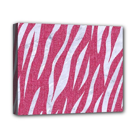 SKIN3 WHITE MARBLE & PINK DENIM Canvas 10  x 8