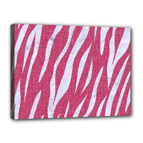 SKIN3 WHITE MARBLE & PINK DENIM Canvas 16  x 12