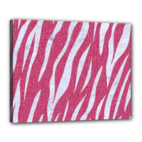 SKIN3 WHITE MARBLE & PINK DENIM Canvas 20  x 16