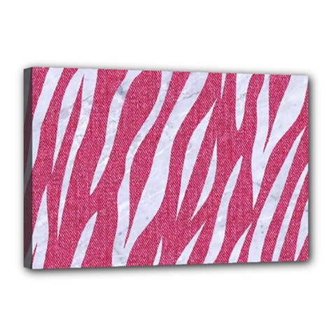SKIN3 WHITE MARBLE & PINK DENIM Canvas 18  x 12