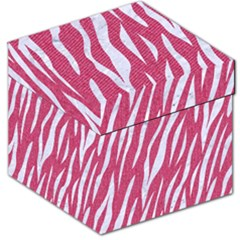 SKIN3 WHITE MARBLE & PINK DENIM Storage Stool 12