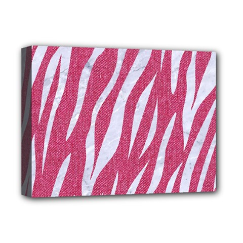 SKIN3 WHITE MARBLE & PINK DENIM Deluxe Canvas 16  x 12