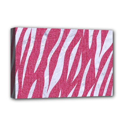 SKIN3 WHITE MARBLE & PINK DENIM Deluxe Canvas 18  x 12