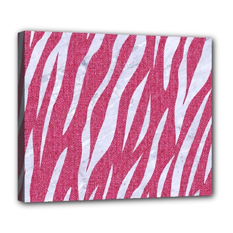 SKIN3 WHITE MARBLE & PINK DENIM Deluxe Canvas 24  x 20