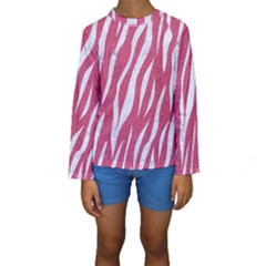 SKIN3 WHITE MARBLE & PINK DENIM Kids  Long Sleeve Swimwear